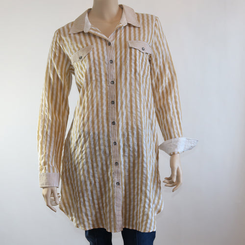 Yellow and White Stripe Shirt Dress with Back Bow Detial