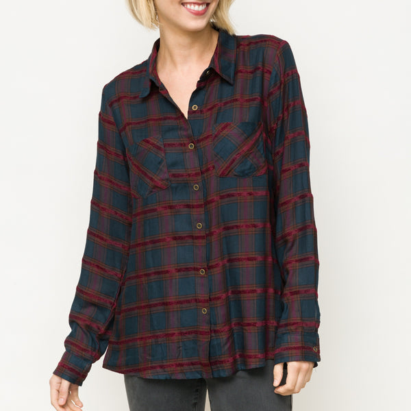 VELVET TEXTURE PLAID SHIRT
