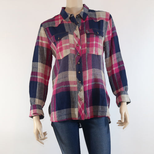 Abella Plaid Shirt with Contrast Back