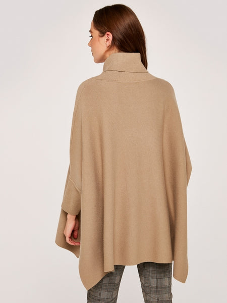 STONE ROLL NECK OVERSIZED PONCHO JUMPER