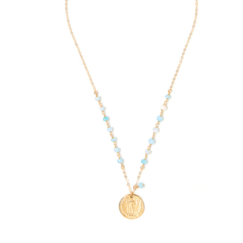 COLOR COIN BLUE OPAL NECKLACE