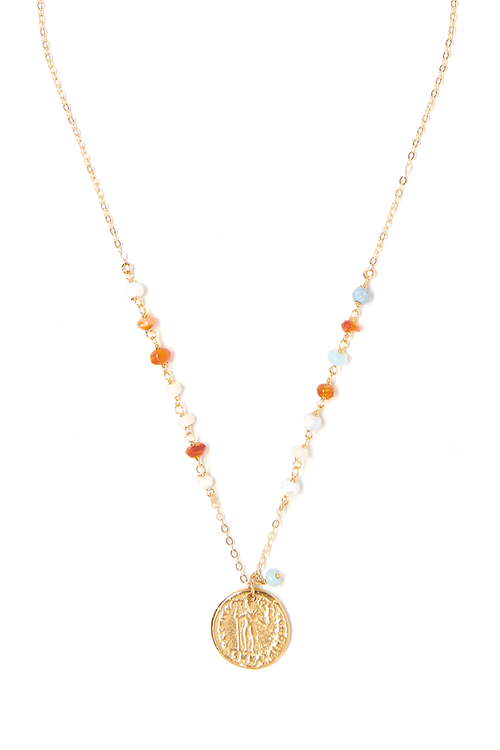 COLOR COIN MULTI-OPAL NECKLACE