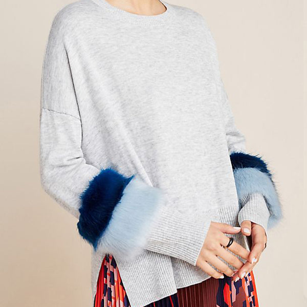 Audrey (Nanette) Faux Fur-Cuffed Sweater
