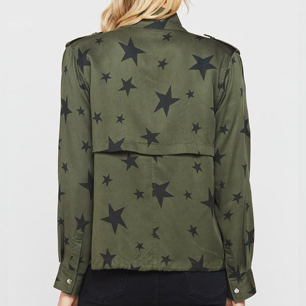 Daveney Olive Black Stars Utility Jacket