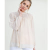 SWISS DOT RUFFLE NECK CHIFFON TOP