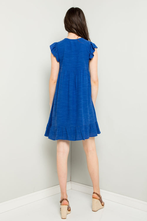 Swing By Royal Blue Embroidered Dress