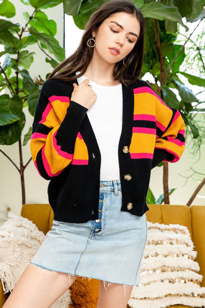 Colorful Stripe Button Up Cardigan