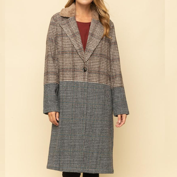 PLAID COLOR BLOCKED FUR COLLAR COAT