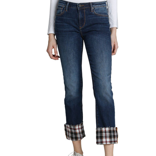 Colette Plaid Cuff Straight Jeans