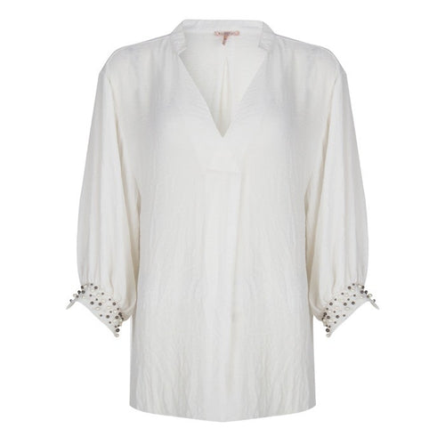 Oversize Pearl Cuff Blouse