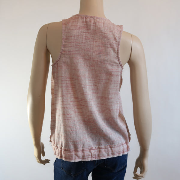 Mixed Media Tank with Contrast Stitch Detail Bottom