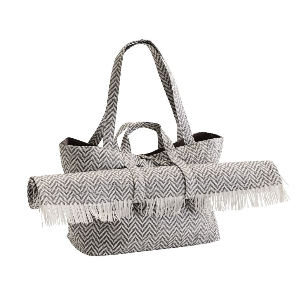 Chevron Straw Bag with mat grey and white by Madam Stoltz