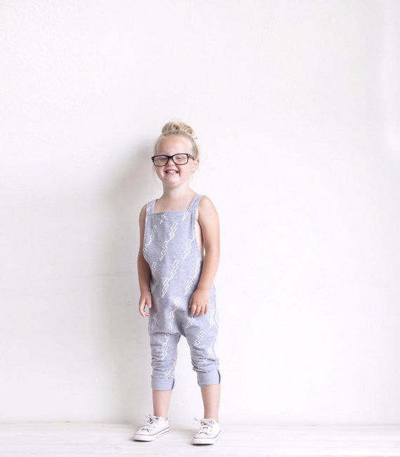 Lightening Bolt Grey White baby dungarees by Marmalade Sky