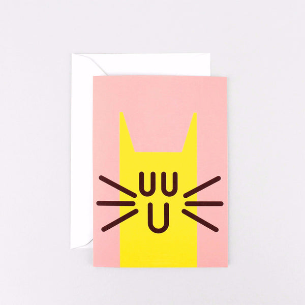 Cat face pink greeting or birthday card by Wrap Magazine