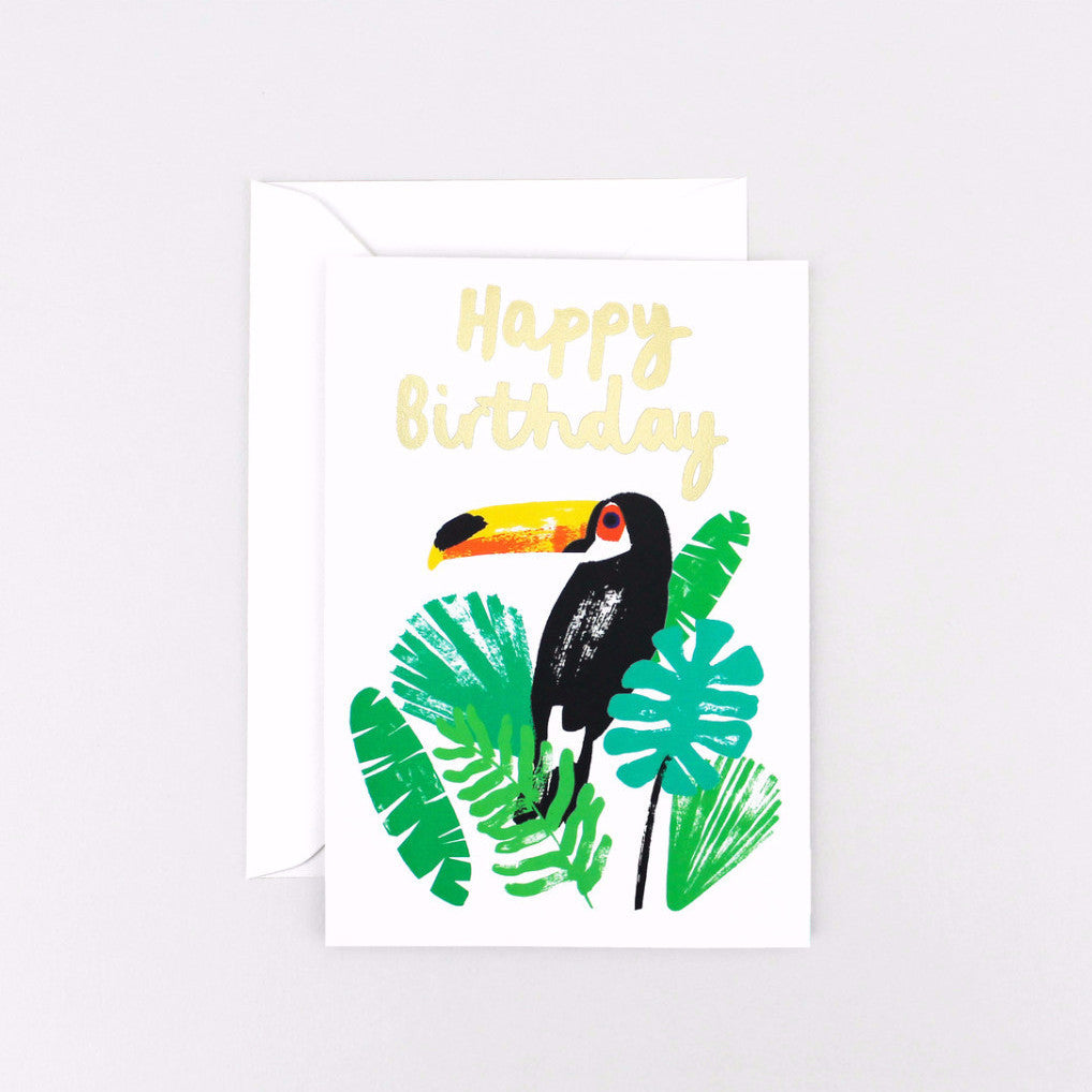 'Happy Birthday Toucan' Foiled Greetings Card-Nookoo