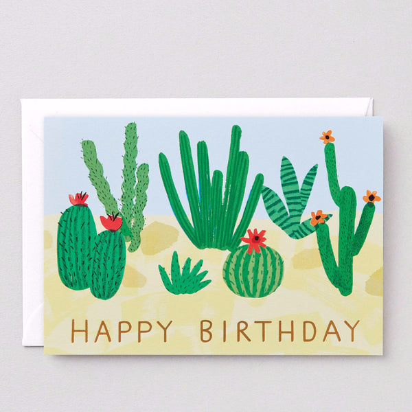 A cactus Happy Birthday card suitable for friends or family by Wrap Magazine
