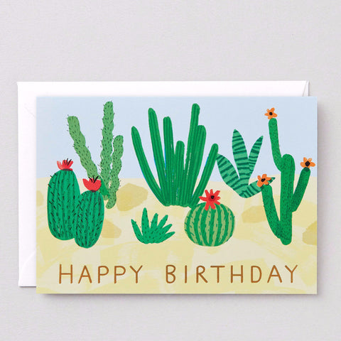 'Happy Birthday Cactus' Foiled Greetings Card