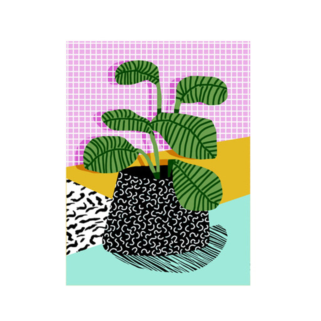 EAST END PRINTS, cool 80's pop art decent pot plant hipster poster. We love the pastel colours and the grid design Nookoo
