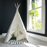 White and black grid print kids play teepee with white herringbone trim by WILDFIRE TEEPEES