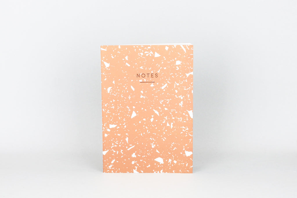Stunning coral notebook by WRAP MAGAZINE. GORGEOUS PEACHY FLECK DESIGN. A5 NOTEBOOK