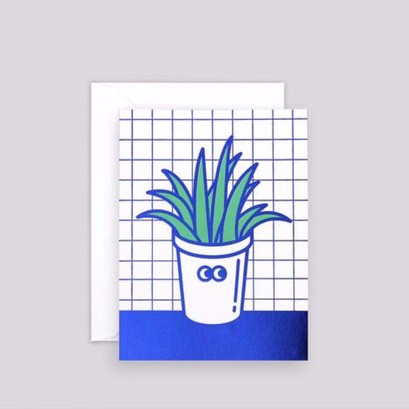 'Pot Plant' Foil-Blocked Mini Card-Nookoo