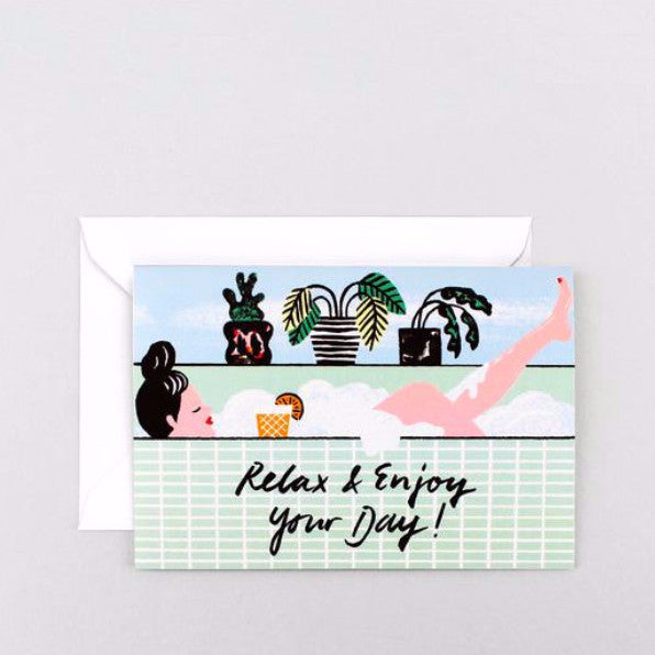 'Relax and Enjoy Your Day!' Greetings Card-Nookoo