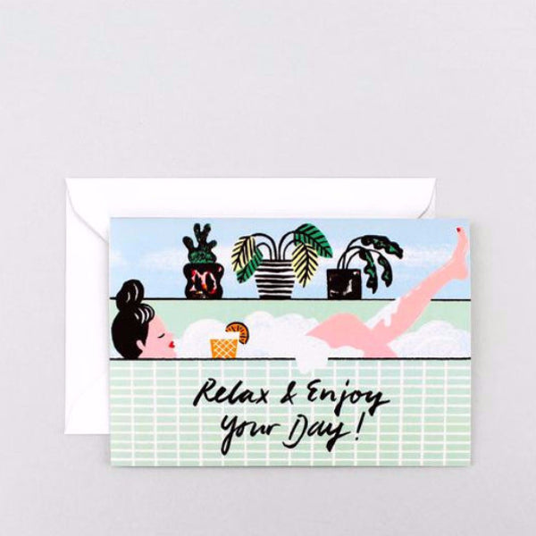 Lady in bath Relax and enjoy your day birthday card by Wrap Magazine