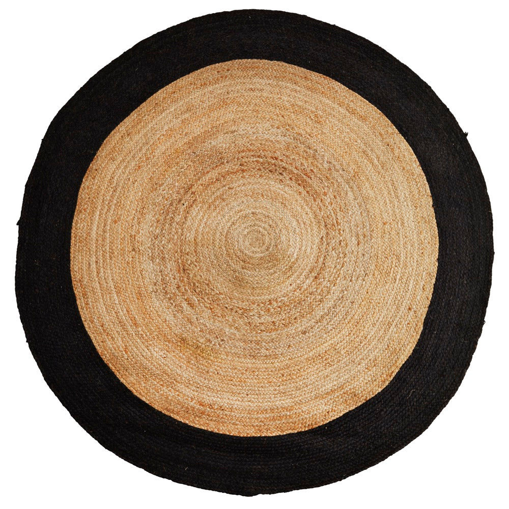 madam stoltz round jute and black rug available at nookoo