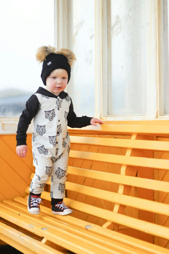 Cream Tiger hooded romper-clothing-Nookoo