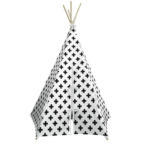 Cross Print White Trim Teepee