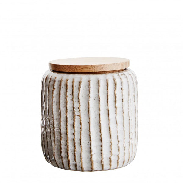 nookoo stoneware jar with wooden lid by Madam Stoltz