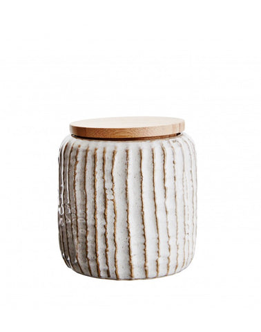 Stoneware Jar with wooden lid