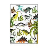 In The Jungle Wandering Dinosaurs poster, dinosaur hanging print for childrens bedroom nookoo