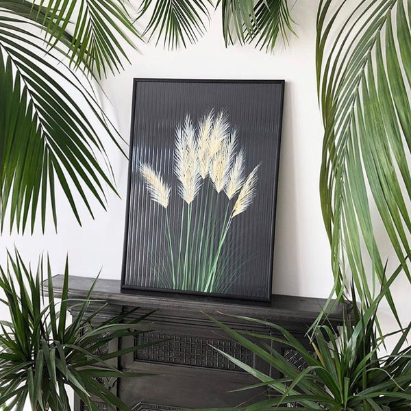 Pampas Grass on Black print-Prints-Nookoo