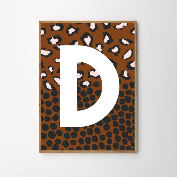 SPOTTY LEOPARD MONOGRAM CHILDREN'S NURSERY PRINT - RUST-Poster-Nookoo