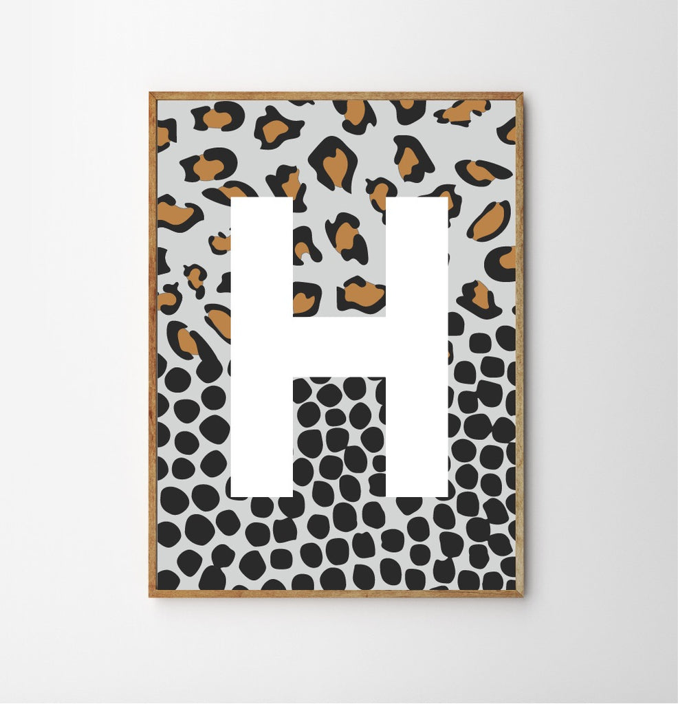 SPOTTY LEOPARD MONOGRAM CHILDREN'S NURSERY PRINT - LIGHT BLUE-Poster-Nookoo