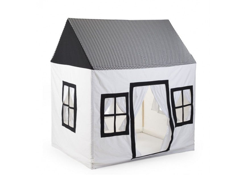Wood & Cotton Play House, Black & White-tent-Nookoo