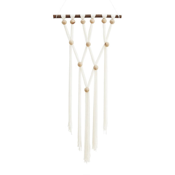 Beaded Macrame White wall hanging by Madam Stoltz