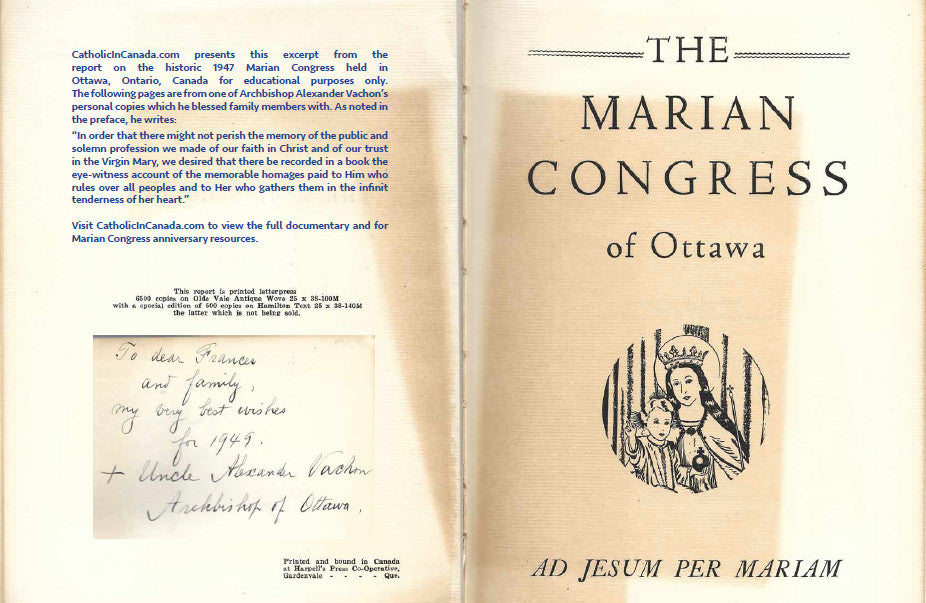 - A Must Read - FREE - 1947 Marian Congress Excerpts