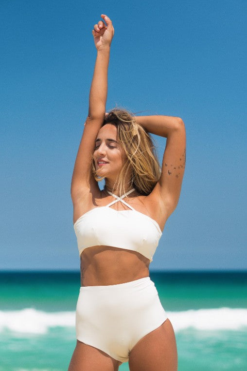 biquini Malibu off white lille beachwear biodegradável