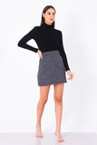 Saia Mini Tweed Mescla Preto