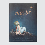 "Book cover with the title ""Maybe,"" featuring the main character and a little pig looking up at the night sky."