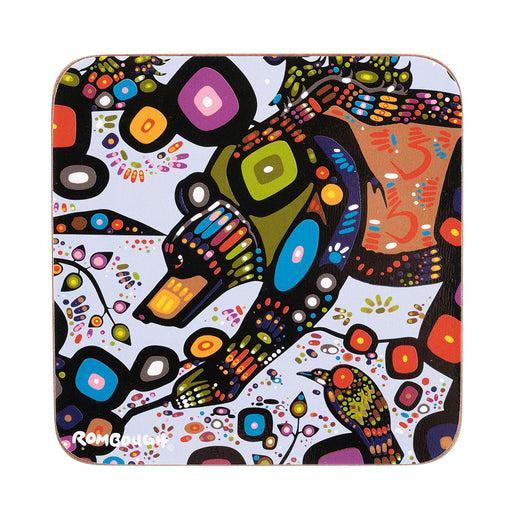 Square coaster with rounded corners featuring art depicting a stylized bear.