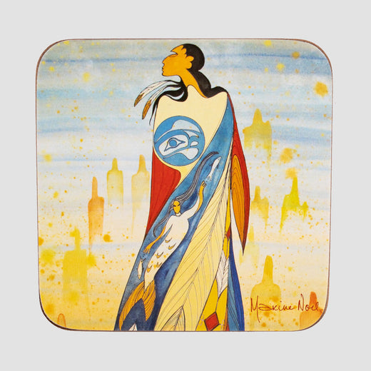 Square coaster with rounded corners featuring art depicting an Indigenous woman.