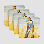 Set of four coasters featuring art depicting an Indigenous woman.