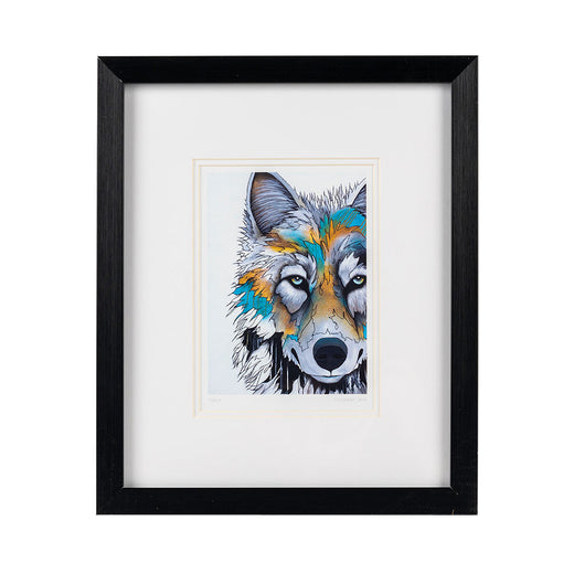 Framed stylized print of a wolf.