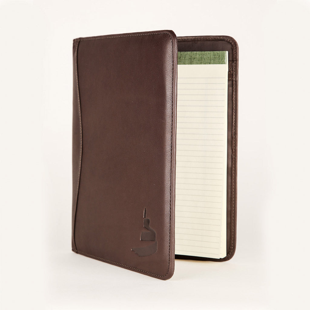 brown leather portfolio with Museum icon