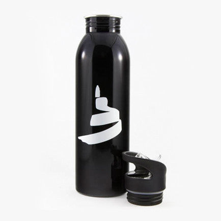 Black water bottle featuring a white icon of the Museum; the lid rests by the bottle's base.