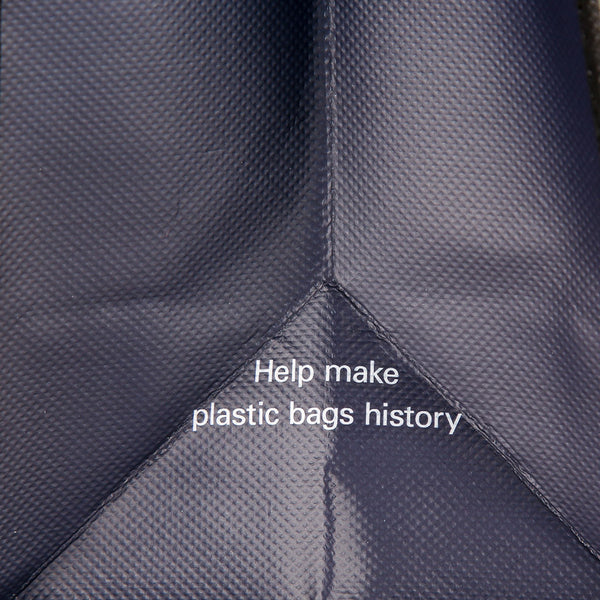 "Close-up of the text ""Help make plastic bags history"""