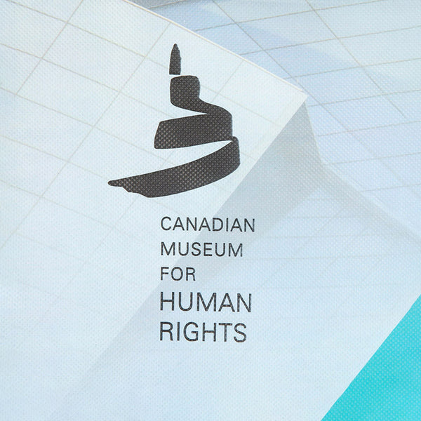 "Close-up of the Museum icon and the text ""CANADIAN MUSEUM FOR HUMAN RIGHTS"""